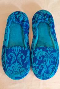 Corduroy Two Tone Blue Slipper