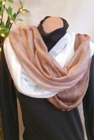 Ombre Multi-Way Tube Scarf Beige/White