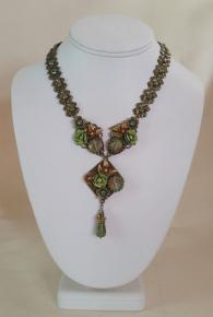 Antique Floral And Jewel Necklace