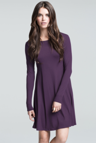 Crew Neck Long Sleeve Flare Dress
