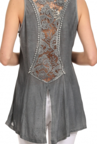 Mystree Lace Back Tank